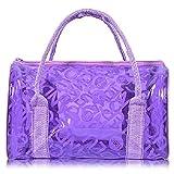 Summer Waterproof PVC Beach Bag Transparent Tote Bag Clear Stadium Bag for Women Girls Kids Purple