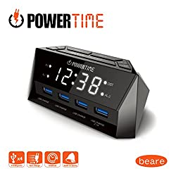 BEARE Alarm Clock Charging Station - w/QUAD USB Port iPhone/iPad/iPod/Android Phone Tablets