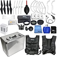 Accessory kit for DJI Phantom 4 includes Hard-Shell Mini Aluminum Case + Intelligent Flight Battery + Multi-Charger Hub for Phantom 4 Intelligent Flight Battery + 64GB SD Memory Card & More!