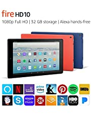 "Certified Refurbished Fire HD 10 Tablet with Alexa Hands-Free, 10.1"" 1080p Full HD Display, 32 GB, Punch Red - with Special Offers (Previous Generation - 7th)"