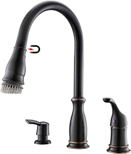 APPASO 3 Hole Kitchen Faucet with Pull Down Magnetic Docking Sprayer Oil Rubbed Bronze, 2-Hole Pull Out Kitchen Sink Faucet with Side Single Handle and Soap Dispenser, 211ORB