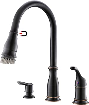 Appaso 3 Hole Kitchen Faucet With Pull Down Magnetic Docking
