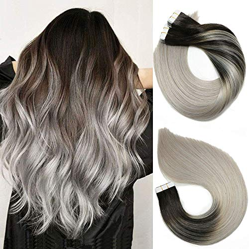 Tape In Hair Extensions Human Hair Balayage Ombre Hair 20pcs/50g Per Set Natural Black Fading to Silver Gray Double Sided Tape Skin Weft Remy Silk Straight Hair Glue in Extensions Human Hair 14 Inch