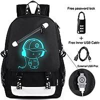 Anime Backpack Luminous Backpack Men School Bags Boys Girls Cartoon Bookbag Noctilucent USB Chargeing port&anti-theft Daybag Women (Music)