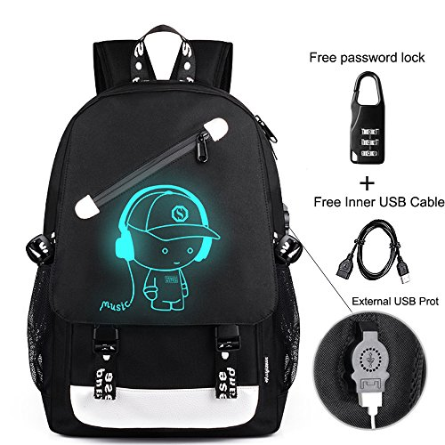 Anime Backpack Luminous Backpack Men School Bags Boys Girls Cartoon Bookbag Noctilucent USB Chargeing port&anti-theft Daybag Women (Music) ()