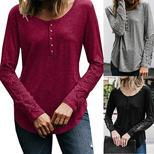 longues Lace Top Femme Sexy Casual T chemise manches rond longues Moonuy Rtro shirt coton lache T Rouge Sweatshirts Pullover vin Lace Blouse Top Casual Col Blouse Camisole shirt manches AqrAXHw