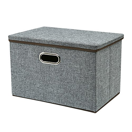 Zonyon Large Storage Box, 17.7'' Sturdy&Strong Collapsible Fabric Storage Bin Container Bakset Home Cube Organizer with Removable Lid for (Home Decorative Fabric)