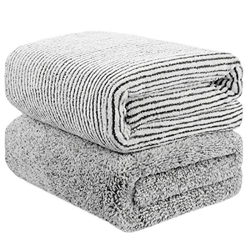 55″ x 29″ Oversized Bath Towels, Microfiber Shower Towel for Body, Towel Sets for Bathroom Clearance, Super Absorbent & Quick-Dry Towel Washcloths for Gym Home Hotel Office Travel (2 Pack)