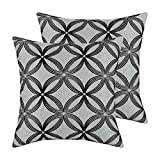Aitliving 2 pcs Pack Pillow Cushion Covers Contemporary Throw Pillow Covers Cases, 18 X 18 Inch, Rings and Circles Geometric Velvet Flocking, Black/Silver Grey, 45X45cm