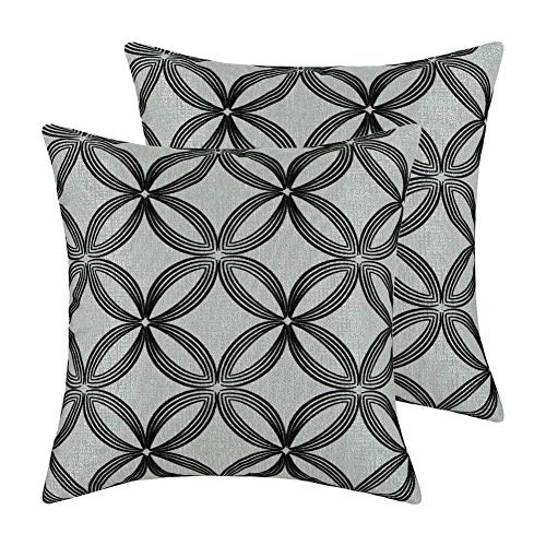 (Aitliving 2 pcs Pack Pillow Cushion Covers Contemporary Throw Pillow Covers Cases, 18 X 18 Inch, Rings and Circles Geometric Velvet Flocking, Black/Silver Grey,)