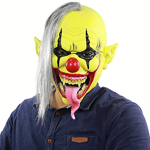 Tutu Dreams Adult Latex Green Face Evil Clown Masks Hair Unisex Scary Cosplay Halloween Masquerade Carnival Party (Green Clown)]()