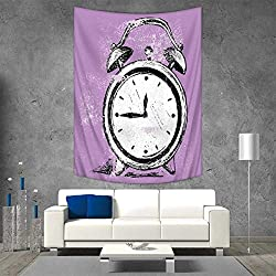 Anhuthree Doodle Wall Tapestry Retro Alarm Clock Figure with Grunge Effects Classic Vintage Sleep Graphic Home Decorations for Living Room Bedroom 54W x 84L INCH Purple White Black