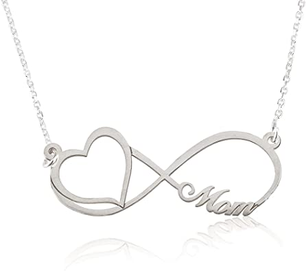 14 Inches Engraved Sterling Silver Infinity Necklace