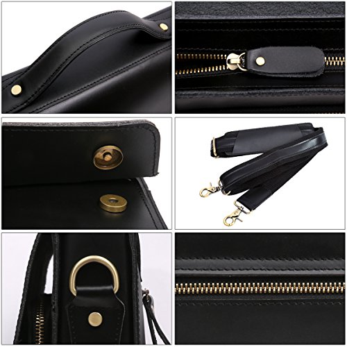 Leathario Leather Briefcase for Men Leather Laptop Bag Shoulder Messenger Bag Business Work Bag by Leathario (Image #4)