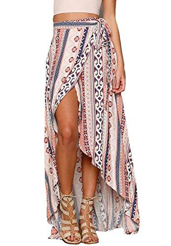 Bestyou Womens Printed Side Slit Sheer Chiffon Maxi Skirt Beach Cover Ups (Geo-Print),Free Size
