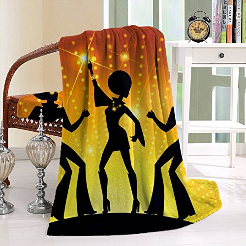 HAIXIA Blanket 70s Dancing People Disco Night Club Afro Hairs Gold Colored Bokeh Black Yellow Orange (Joseph Wool Flannel)