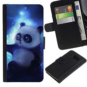 KingStore / Leather Etui en cuir / Samsung Galaxy S6 / Oso de panda del dibujo del arte Magic Blue Light