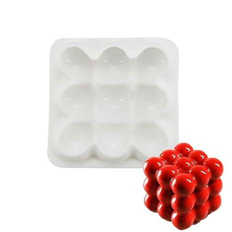 Molde de silicona para postres geométricos de 3 x 3 esferas para chocolate mousse gasa para