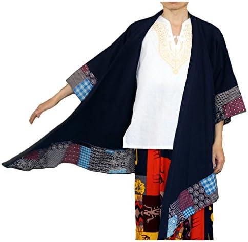 [スゴフィ]SGFY メンズ ロングカーディガン コート 羽織り 薄手 ロング リネン ロングコート 七分袖 和柄 総柄 2色
