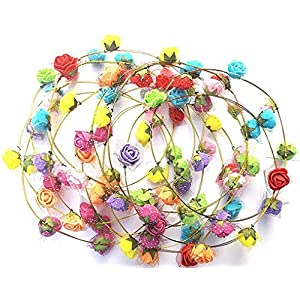 Yuktha Eternals DIY Handmade Crafts Mini Paper Rose Flower Artificial Berry Crown Floral Hairband in Multi-Colour for Women,Teens,Toddler - Pack of 4 28