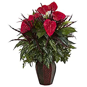 Nearly Natural 8170-RD Mixed Anthurium Artificial Decorative Planter Silk Plants Red 36