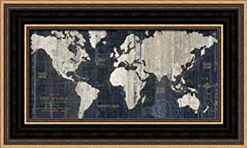 Amazon old world map blue framed art print 5x10 fine art old world map blue framed art print 5x10 fine art print by wild apple gumiabroncs Gallery