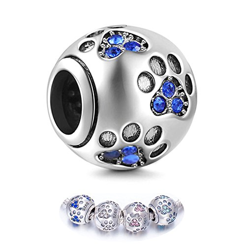 ENJOOOY Sterling Silver Dog Paw Print Charm Beads with Cubic Zirconia Crystals fit Pandora Style Beaded Bracelets for Pet Lovers by ENJOOOY (Image #8)