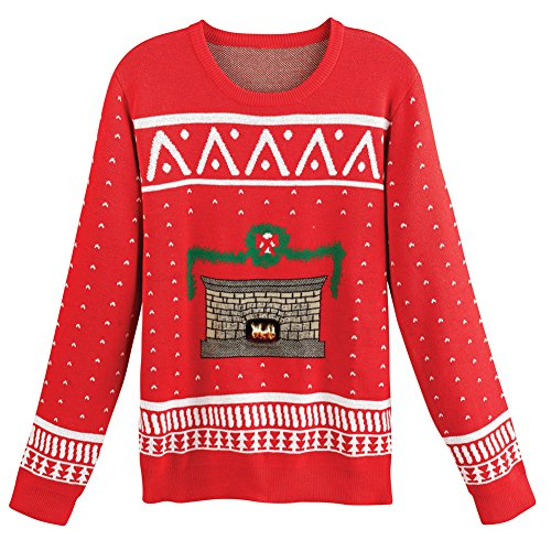 MORPHSUITS Unisex Adult crackling Fireplace Christmas Sweater - XL (Jumper Christmas Flashing)