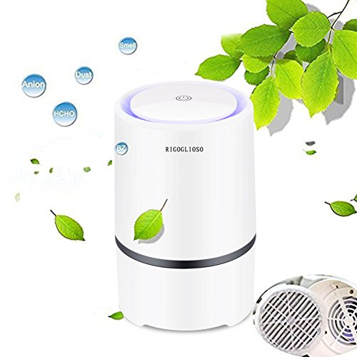 RIGOGLIOSO Air Purifier for Home with True HEPA Filters, 2019 Upgraded Design Low Noise Portable Air Purifier with Night Light,Desktop USB Air Cleaner