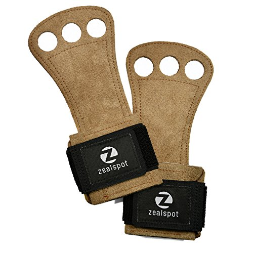 Z ZEALSPOT 3 holes Leather Gymnastics Hand Grips for pullups, weight lifting, Powerlifting,chin ups, exercise, kettlebell and Barbells,Brown,L