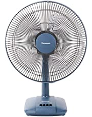 "Panasonic F-400CSN 16"" Desk Fan, 3 Speed, Plastic Blades, Detachable Base, 70W, Blue"