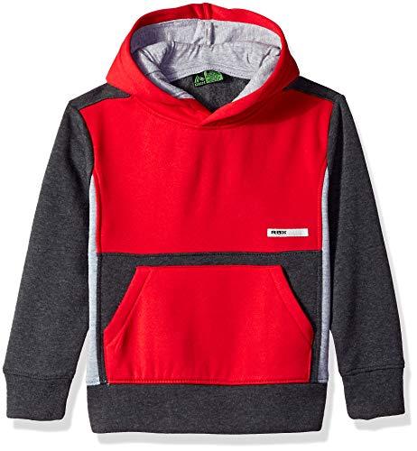 RBX Boys' Big Pullover Fleece Hoodie, red Color Block, 14/16