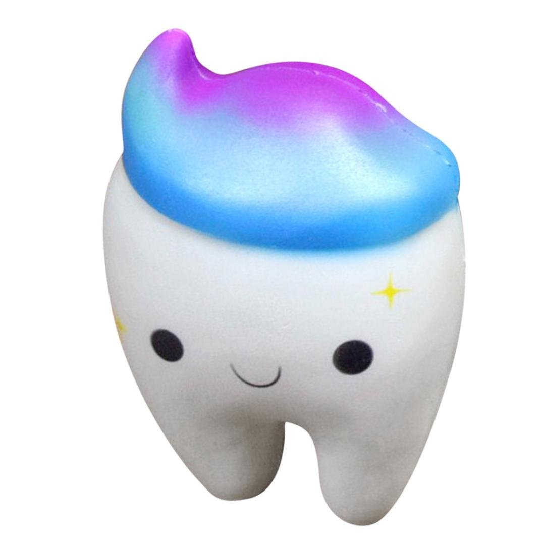 Joykith Kawaii Squishy Squeeze Stress Reliever Soft Teeth Cake Scented Slow Rising Toys (White)