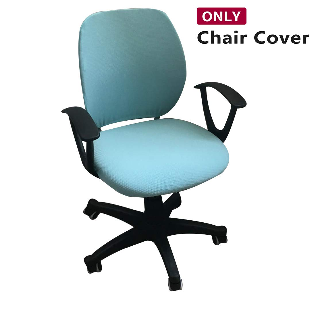 Jiyaru Rotating Armchair Slipcover Removable Stretch Computer Office Chair Cover Light Blue (Only Cover)