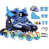 DSFGHE Roller Skates Children's Full Set 3-12 Years Old Beginners Girls Boys Kids Adjustable Inline Skates For Men And Women Flash Wheel Rollerblades Ice Skate,Blue-S(26-32)