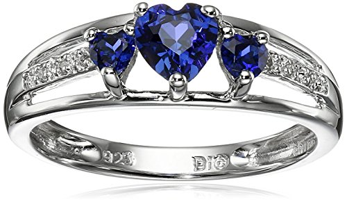 Sterling Silver Created Sapphire and Diamond Accent Three-Heart Ring, Size 7