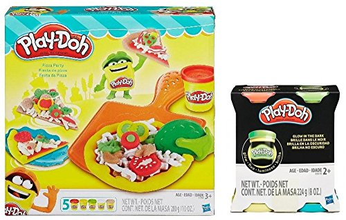 Play-Doh Pizza Party Set with BONUS set of 4 Glow in the Dark Playdoh Colors -  Hasbro, gk465yr