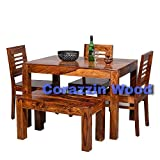 Corazzin Wood Sheesham Wooden Dining Table 4 Seater | Dining Table Set with 3 Chairs & 1 Bench | Home Dining Room Furniture | Honey Finish Finish