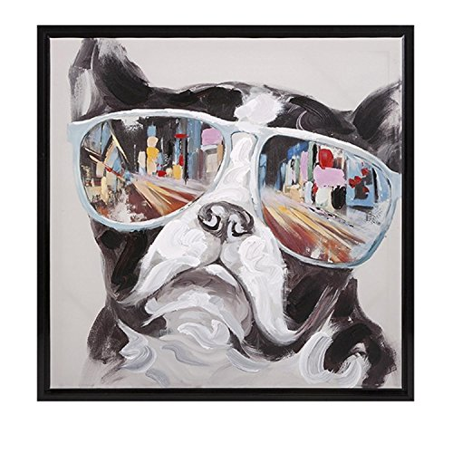 "CC Home Furnishings 34"" City Sun Glasses Hipster Dog Framed Canvas Square Wall Art Decor"