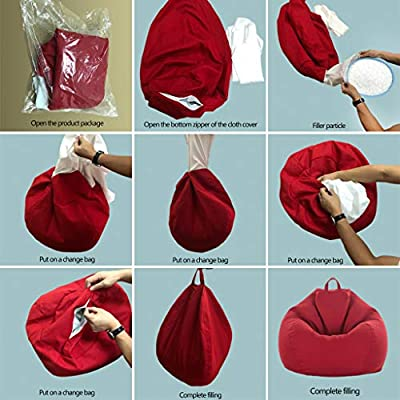 Baoblaze Waterproof Linen Bean Bag Cover Only Home Toys Clothes Pillow Storage Bag, 11 Colors Pick - Gray: Kitchen & Dining