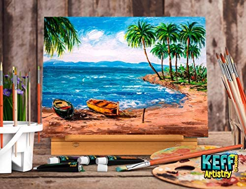Keff Creations Professional Deluxe Painting Kit Contains all Painting provides and equipment together with paint tubes, desk best easel, stretched canvas extra. Great Painting Set for Beginners or Artist