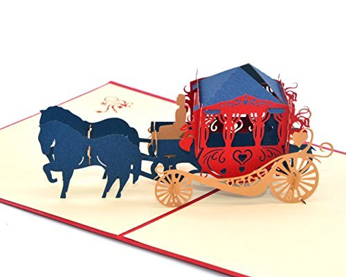 Medigy Vintage Carriage Handmade 3D Pop Up Greeting Cards Invitation Cards for Wedding, Valentines,Lovers,Couple's/ Valentines Day Gifts -