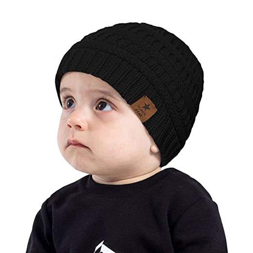 48ef1415604ee Kids Baby Boy Girl Winter Knit Warm Hats Infant Toddler Beanie Caps Black