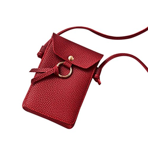 LHWY Moda Mujer PatróN De Lichee Bolso De Crossbody SóLido Bolsa De Monedas Con Cerrojo Bolsa De TeléFono Bolsa De Hombro Rojo