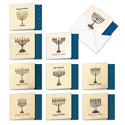 AMQ6128HKG-B1x10 Menorah's Miracles: Assorted Set of New 'Square-Top' Notecards Featuring Interesting and Unique Images Celebrating Hanukkah, with Envelopes (Size: 4
