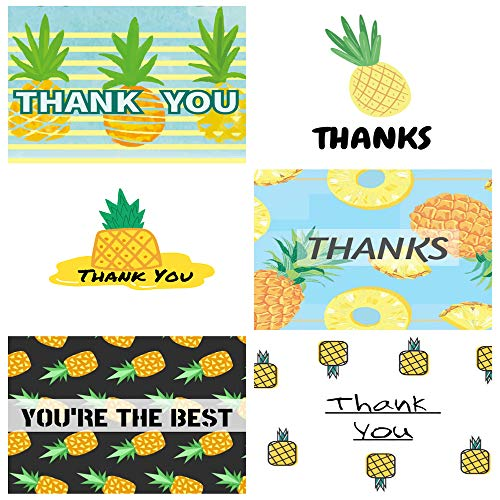 Pineapple Thank You Cards - 36 Pack Thank You Notes for Wedding, Baby Shower, Bridal Shower, Anniversary, Bridal Shower, Graduation,with Envelopes and Thank You Stickers,2.76 x 3.74 Inches,6 Design]()