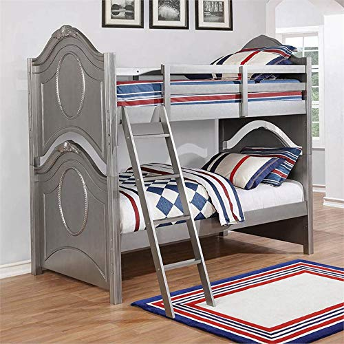 Coaster Valentine Twin Over Twin Bunk Bed in Metallic Pewter