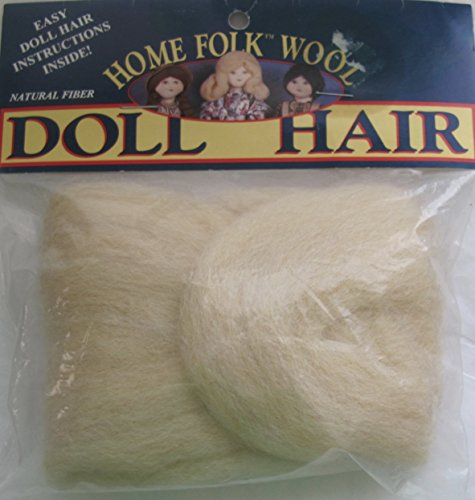 HOME FOLK Craft 1 PACK of 100% WOOL Roving DOLL HAIR 1 YARD Long COLOR #850LBL LIGHT BLONDE Cleaned & Carded (Made in USA)
