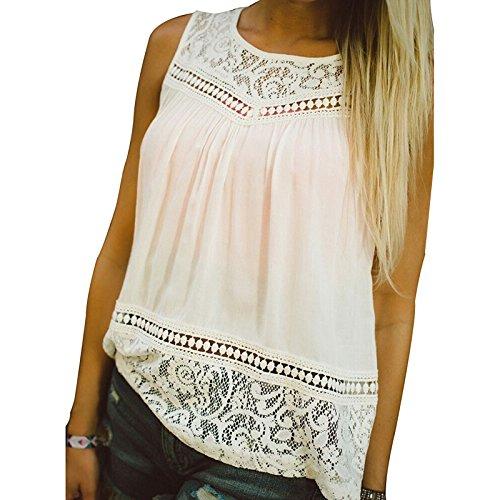 maglia senza maniche - TOOGOO(R)1PC donne Bohemian maglia senza maniche vestito largo T camicetta casuale Top O-collo bianco,5XL