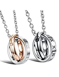 LOVE Beauties Titanium Series His & Hers Matching Set Titanium Couple Pendant Necklace Korean Love Style in a Gift Box (His)